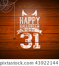 Happy Halloween banner illustration with flying bats, cemetery and spider on vintage wood background 43922144