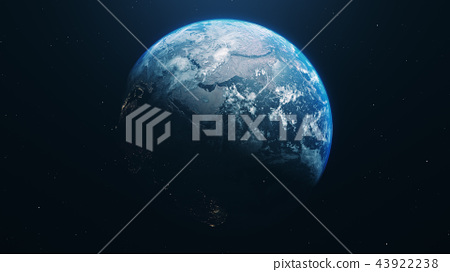blue realistic glow earth in open space 43922238