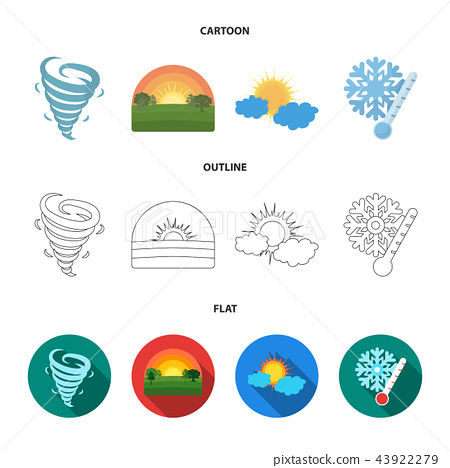 Tornado, sunrise, cloudiness, snow and frost. The weather set collection icons in cartoon,outline 43922279