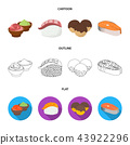 Wasabi sauce and ginger, salmon steak, octopus. Sushi set collection icons in cartoon,outline,flat 43922296