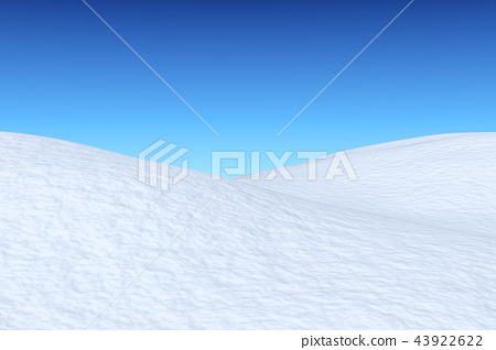 Snowy field with hills under blue sky 43922622