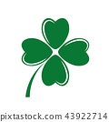 four-leaf green clover white background 43922714