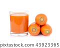 Closeup glass of carrot juice and fresh carrot  43923365