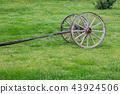 Old two wheels cart base in green field 43924506