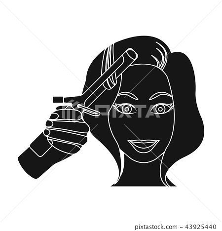 Hair curling in the hairdresser. Curling Hair single icon in black style vector symbol stock 43925440