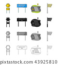 Road junctions and signs cartoon icons in set collection for design.Pedestrian crossings and signs 43925810