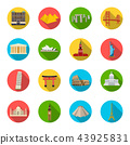 Sights of different countries flat icons in set collection for design. Famous building vector symbol 43925831