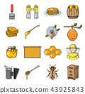 Apiary and beekeeping cartoon icons in set collection for design.Equipment and production of honey 43925843