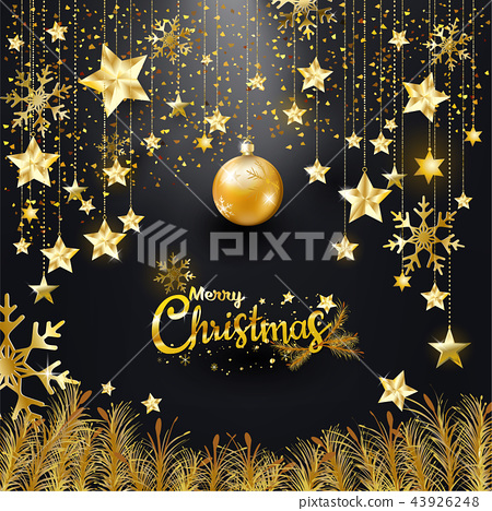 Gold glitter Merry Christmas Happy New Year banner 43926248