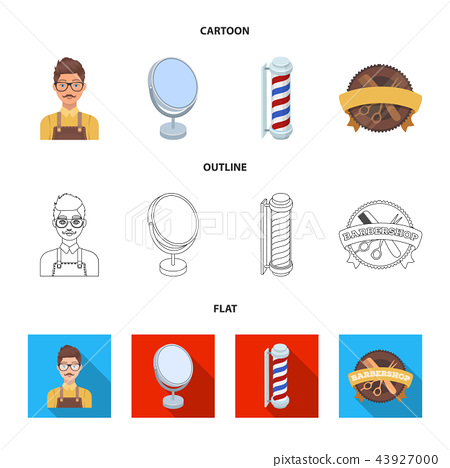 Male hairdresser, sign, mirror and other equipment for a hairdresser.Barbershop set collection icons 43927000