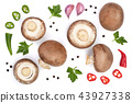Fresh champignon mushrooms with parsley, peppercorns and red hot chili peppers isolated on white 43927338