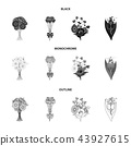 A bouquet of fresh flowers black,monochrome,outline icons in set collection for design. Various 43927615