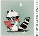 cute little raccoon with tablet 43929227
