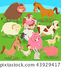 farm animals on the meadow cartoon illustration 43929417