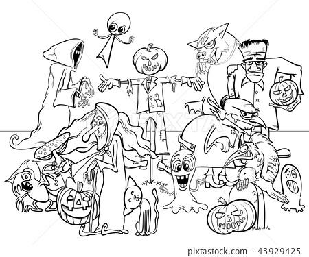 Halloween holiday cartoon characters color book 43929425