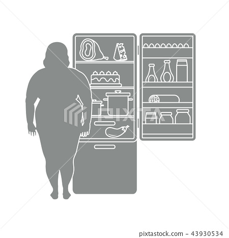 Fat woman stands at the fridge full of food 43930534