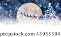聖誕節雪冬天背景 43935394