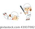 ผู้หญิงกำลังเล่นเบสบอล 43937082