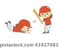 ผู้หญิงกำลังเล่นเบสบอล 43937083