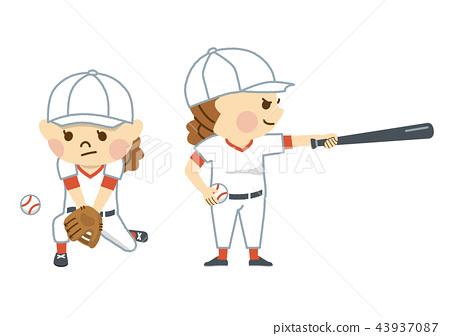 야구를하는 여성 43937087