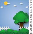 Tree in green field with fence , paper art style 43937114