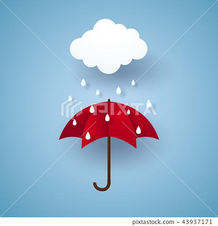 Umbrella with rain , rainy season 43937171