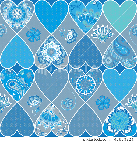 Seamless floral patchwork pattern with hearts and mandalas background. Vector 43938824
