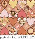 Seamless floral patchwork pattern with hearts and mandalas background. Vector 43938825