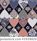 Seamless floral patchwork pattern with hearts and mandalas background. Vector 43938826