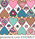 Seamless floral patchwork pattern with hearts and mandalas background. Vector 43938827