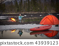 View of camp life in a mountain terrain. Lake shore with canoe 43939123
