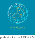 Prawn or shrimp, Water splash circle frame shape 43939972