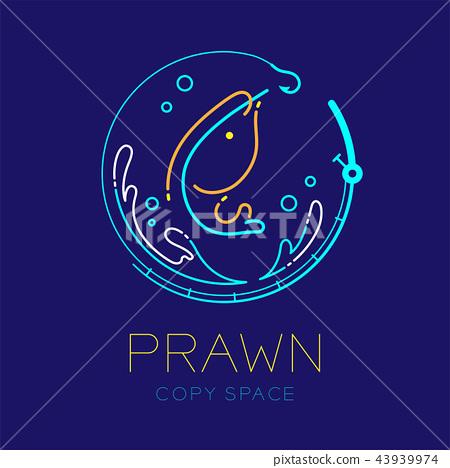 Prawn or shrimp, Fishing rod circle shape, Water 43939974