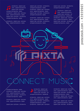 Man with earphone and smartphone, Drum kit shape 43939985