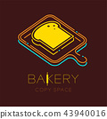 Bread and Wood tray logo icon outline stroke set 43940016
