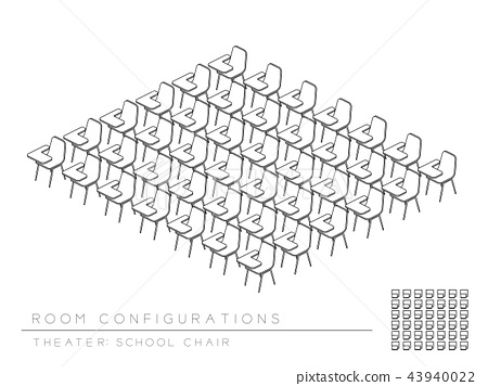 Meeting room and school chair with writing pad 43940022