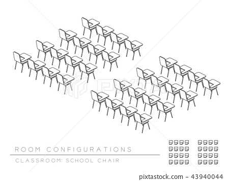 Meeting room and school chair with writing pad 43940044
