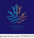 Trident, wave and water splash, logo icon outline 43940259