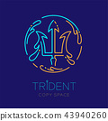 Trident and Water splash circle frame shape, logo 43940260