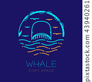Whale, seagull, wave and harpoon shape, logo icon 43940261
