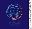 Whale, seagull, wave and Water splash circle frame 43940262