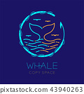 Whale tail, seagull, wave and harpoon circle frame 43940263