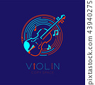 Violin, bow, music note with line staff circle 43940275