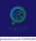 Music note with line staff circle shape logo icon 43940280