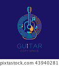Acoustic guitar, music note with line staff circle 43940281