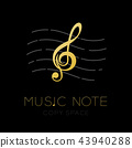 Music note gold color with dash line staff, logo 43940288