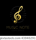 Music note gold color with dash line staff circle 43940291