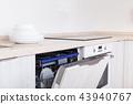 Kitchen with open dishwasher 43940767