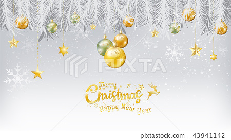 Merry Christmas and Happy New Year gold snow 43941142