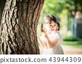 女孩兒童公園遊玩郊遊 43944309